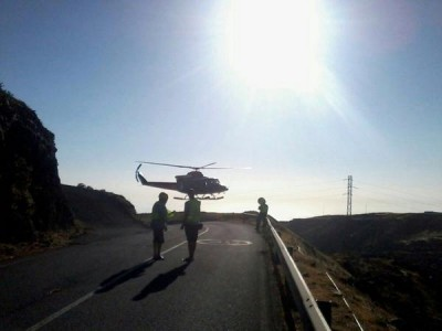 helicoptero en carretera chipude
